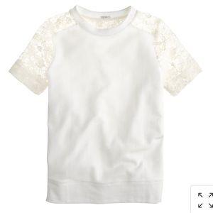 J crew short lace sleeve sweatshirt medium white
